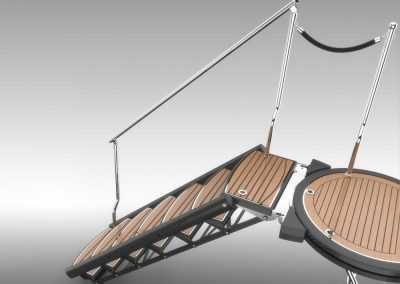 Carbon Fiber Boarding Stairs with Rotational Platform